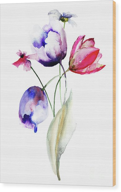 Blue Tulips Flowers With Wild Flowers Wood Print