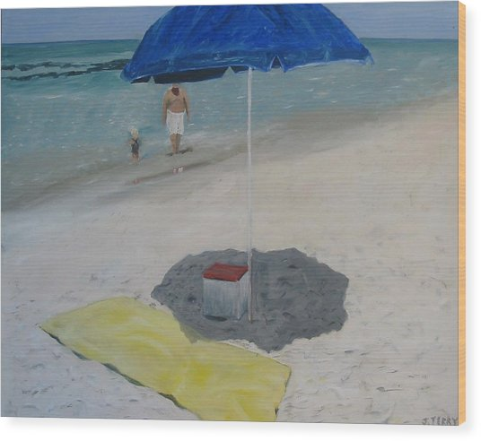 Blue Umbrella Wood Print by John Terry