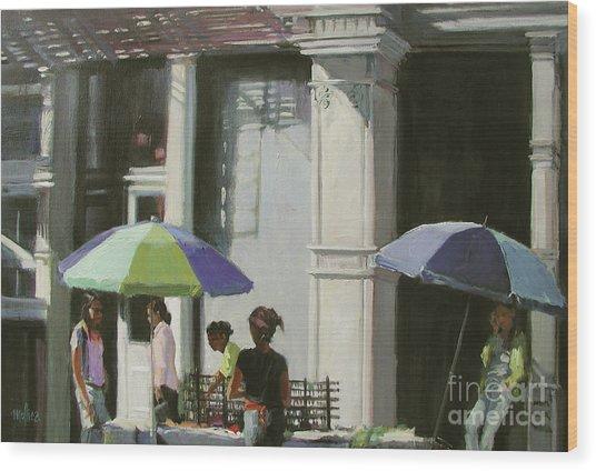 Blue Umbrellas Wood Print by Patti Mollica