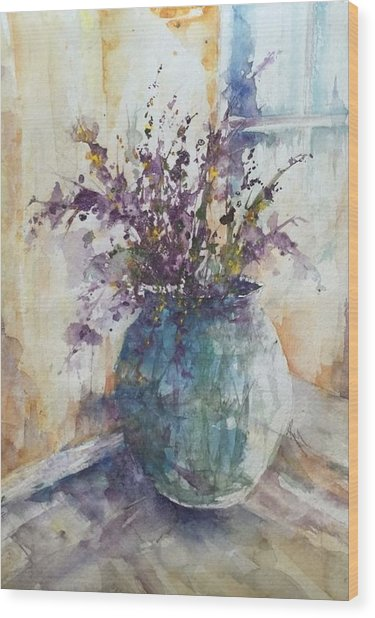 Blue Vase Of Lavender And Wildflowers Aka Vase Bleu Lavande Et Wildflowers  Wood Print