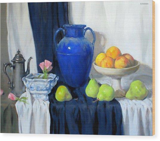 Blue Vase, Peaches, Pears, Lisianthus, Silver Coffeepot Wood Print