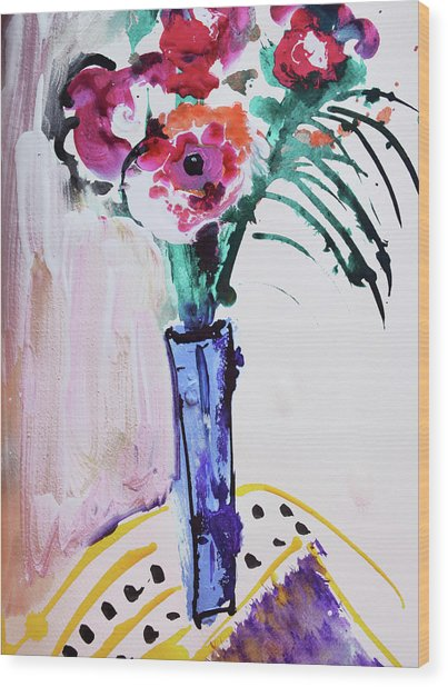 Blue Vase With Red Wild Flowers Wood Print