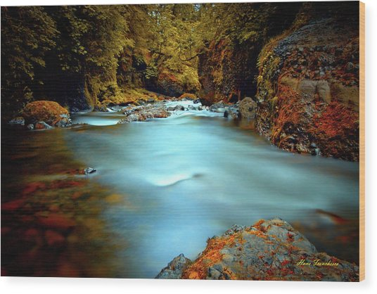 Blue Water And Rusty Rocks Signed Wood Print