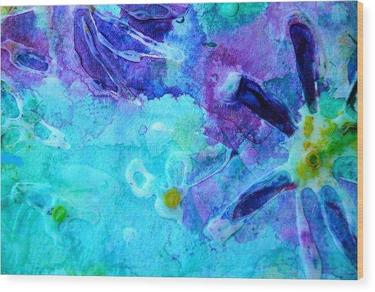 Blue Water Flower Wood Print