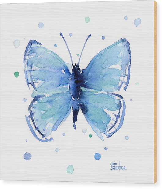 Blue Watercolor Butterfly Wood Print