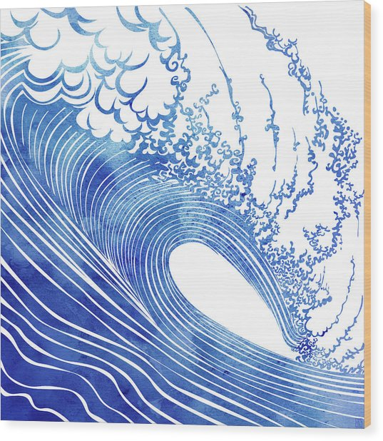 Blue Wave Wood Print