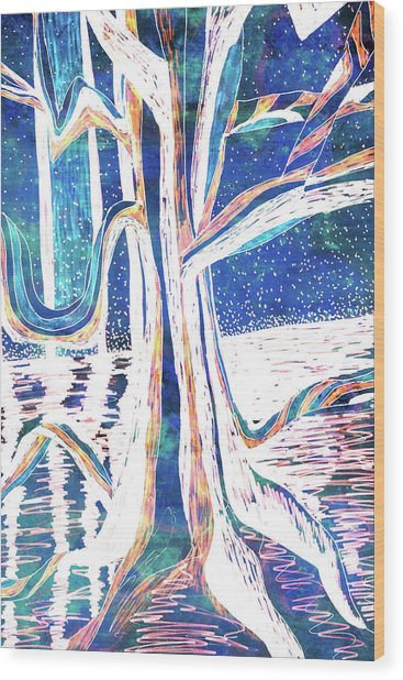 Blue-white Full Moon River Tree Wood Print
