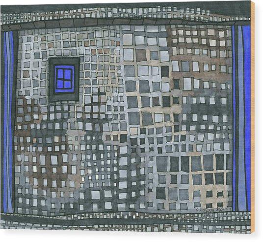 Blue Blue Windows Wood Print