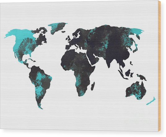 Blue World Map Watercolor Painting Wood Print
