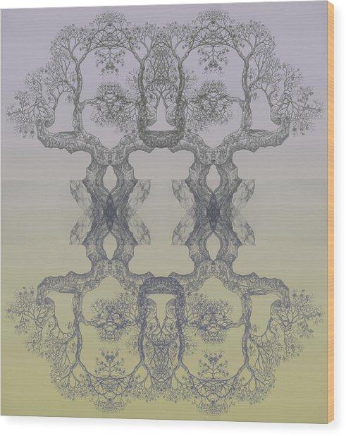 Blue Yellow Tree 14 Hybrid 4 Wood Print