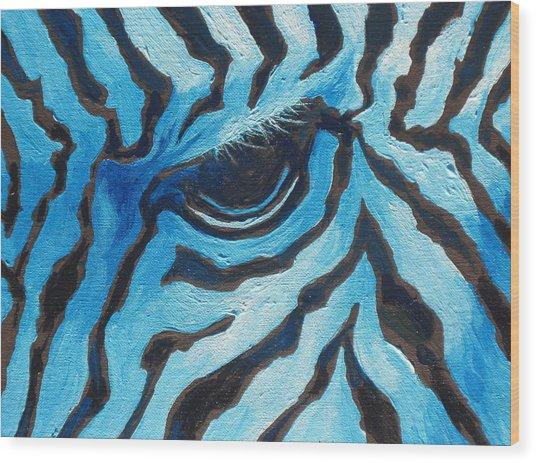 Blue Zebra Wood Print