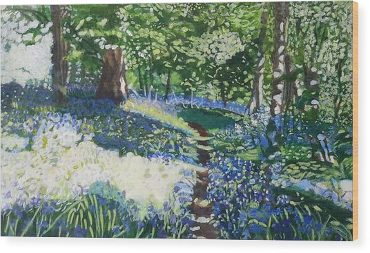 Bluebell Forest Wood Print