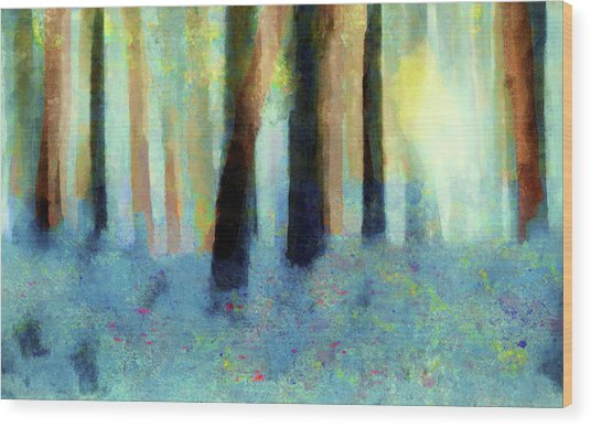 Bluebell Wood By V.kelly Wood Print