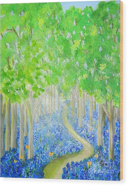 Bluebell Wood With Butterflies Wood Print