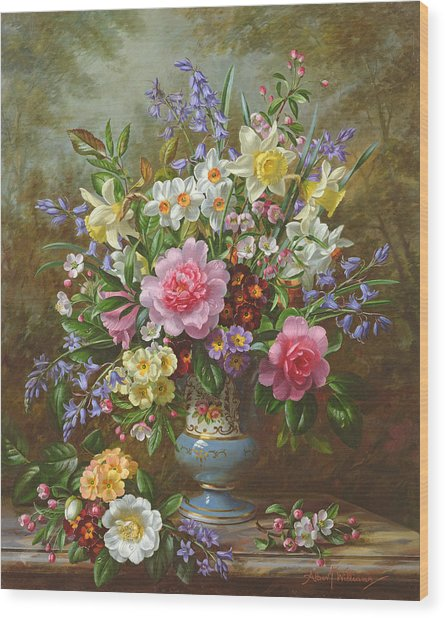 Bluebells Daffodils Primroses And Peonies In A Blue Vase Wood Print