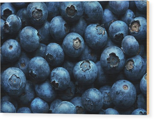Blueberries Background Close-up Wood Print