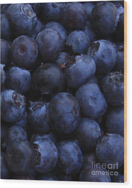 Blueberries Close-up - Vertical Wood Print