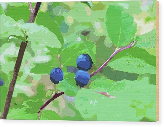 Blueberries Halftone Wood Print