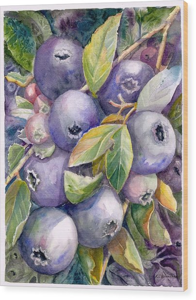 Blueberries Wood Print by KC Winters