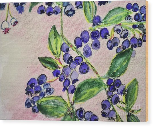 Blueberries Wood Print