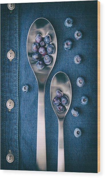 Blueberries On Denim I Wood Print