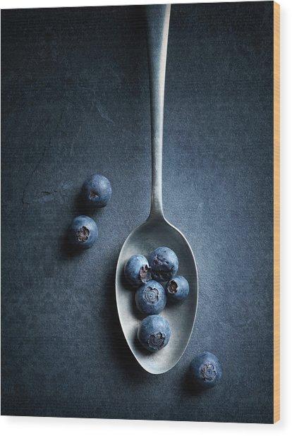 Blueberries On Spoon Still Life Wood Print
