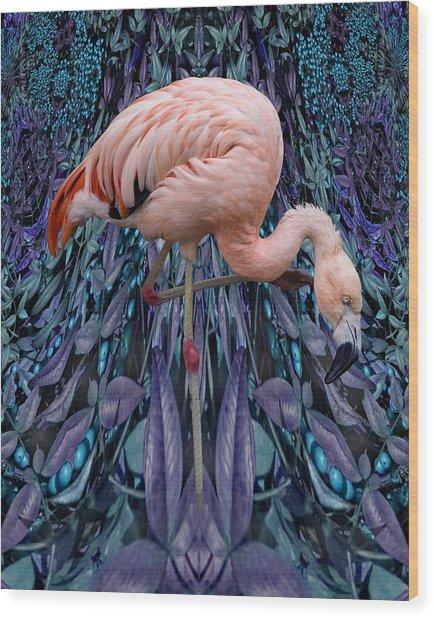 Blueberry Bird Wood Print by Chuck Brittenham
