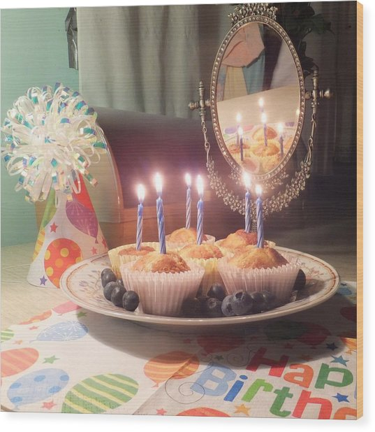 Blueberry Muffin Birthday Wood Print