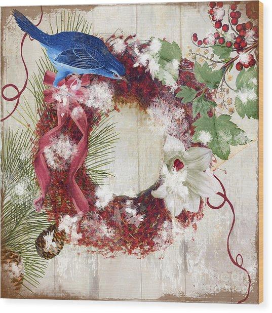 Bluebird Christmas I Wood Print
