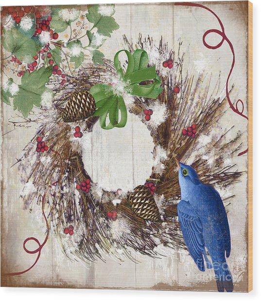 Bluebird Christmas II Wood Print