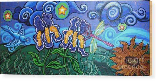 Bluebird Dragonfly And Irises Wood Print