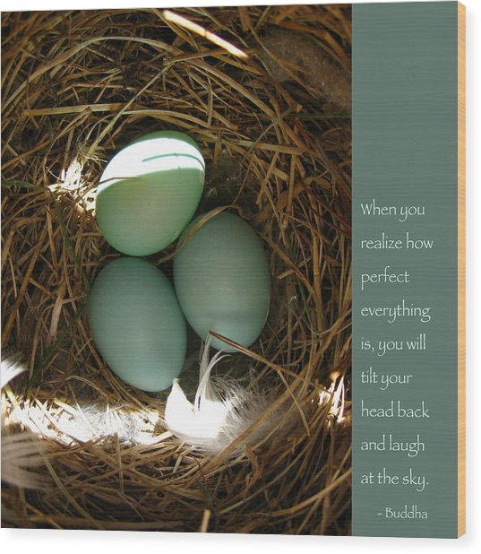 Bluebird Eggs With Buddha Quote Wood Print
