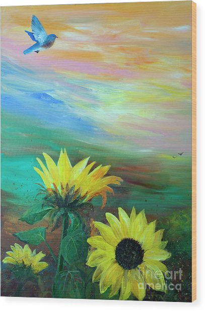 Bluebird Flying Over Sunflowers Wood Print