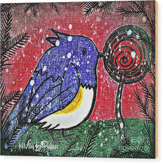 Bluebird Of The Season Wood Print
