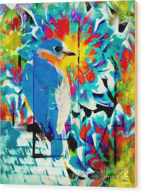 Bluebird Pop Art Wood Print