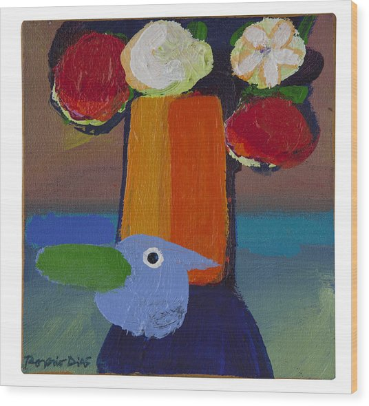 Bluebird Wood Print by Rogerio Dias