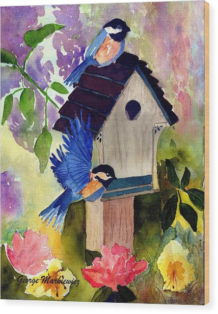 Bluebirds Nesting Wood Print by George Markiewicz