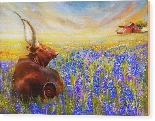 Bluebonnet Dream - Bluebonnet Paintings Wood Print