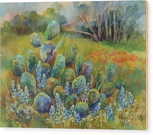 Bluebonnets And Cactus Wood Print