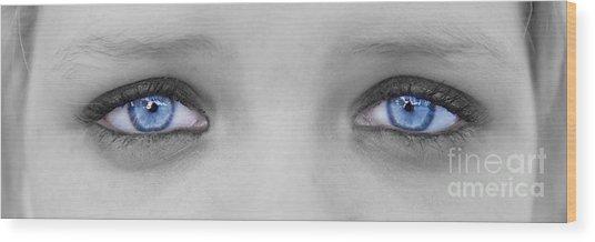 Blueeyes Wood Print by Lionel Martinez