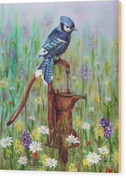 Bluejay Peaceful Perch Wood Print