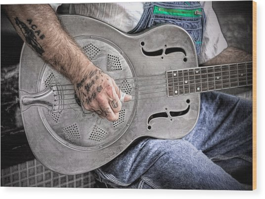 Blues And Tattoos Wood Print