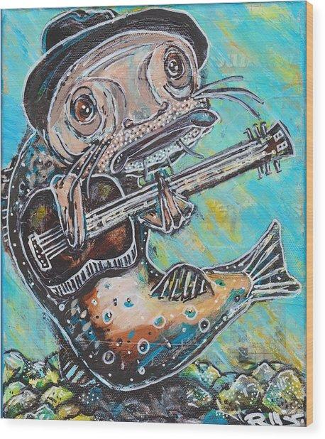 Blues Cat Revisited Wood Print