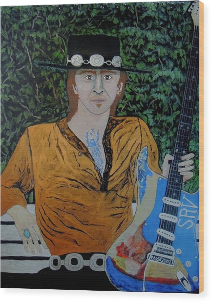 Blues In The Park With Srv. Wood Print