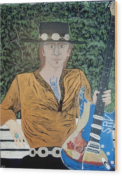 Blues In The Park With Stevie Ray Vaughan. Wood Print