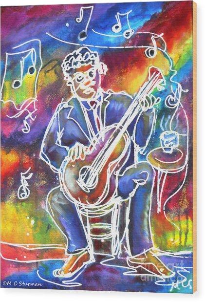 Blues Man Wood Print by M c Sturman