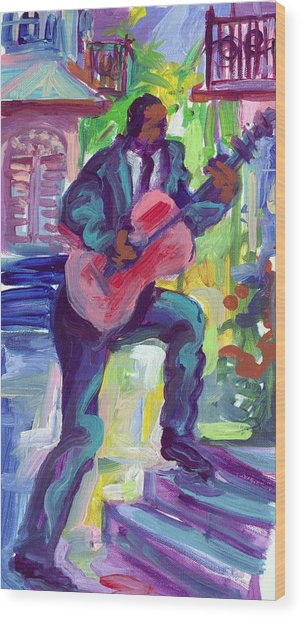 Blues Man On Steps Wood Print by Saundra Bolen Samuel