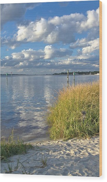Blues Skies Of The Cape Fear River Wood Print