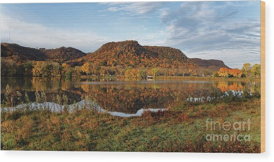 Wood Print featuring the photograph Bluff Reflection And Shoreline Agree In Winona Minnesota by Kari Yearous
