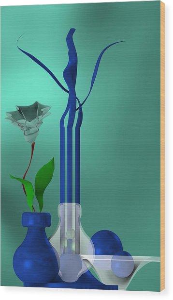 Bluish Still Life Growing Wood Print